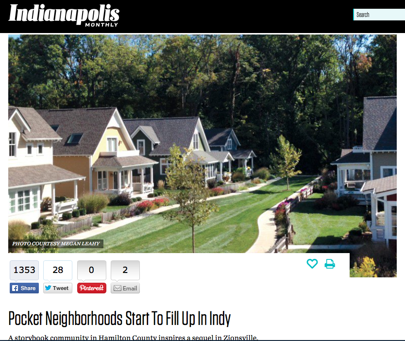 Indianapolis Monthly: Pocket Neighborhoods Start to Fill Up Indy